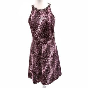 Kensie Jeweled Collar Halter Snake Print Dress